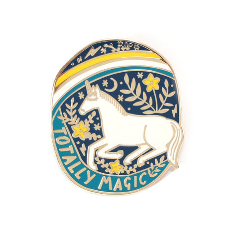 Totally Magic Unicorn and Yellow Rainbow Enamel Lapel Pin Badge