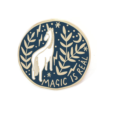 Magic Is Real - Blue Circle Lapel Pin Badge with Unicorn and Stars