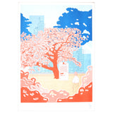 Unframed risoraph print - cherry blossom tree in city park