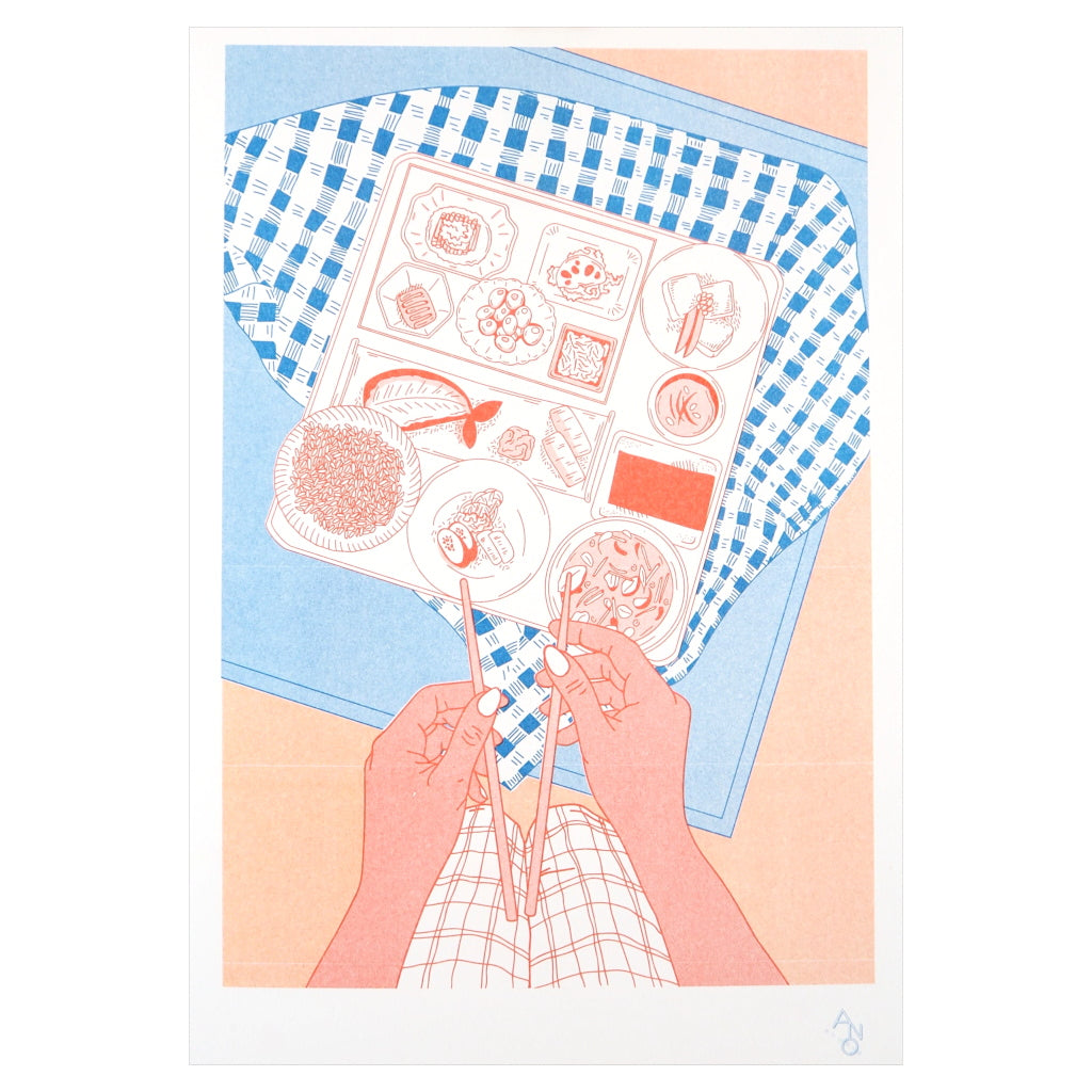 Unframed image of Bento box risograph print in pink, red and blue. Delicate food illustration.