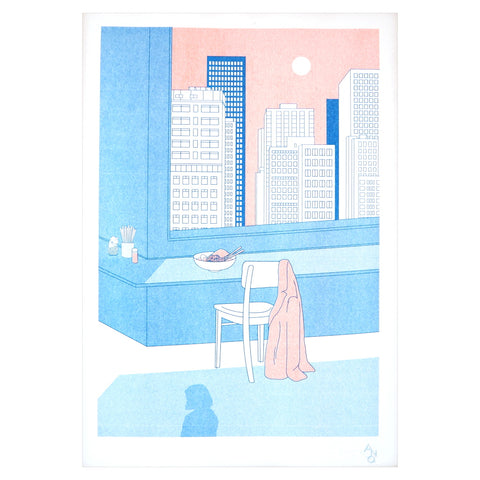 Unframed image of risograph print ramen noodles in delicate blue, pink and red