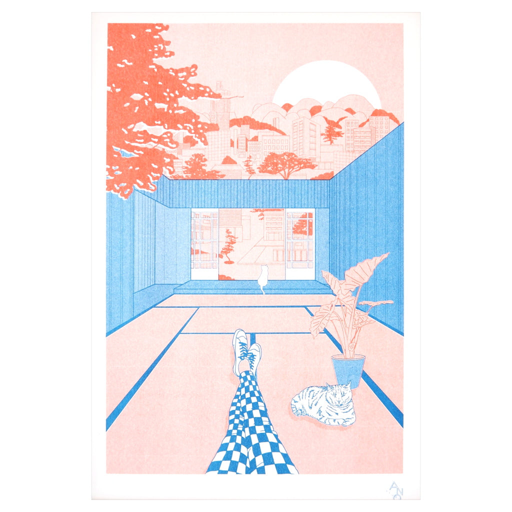 Unframed Riso print of a Japanese home with tatami mats in blue, pink and red
