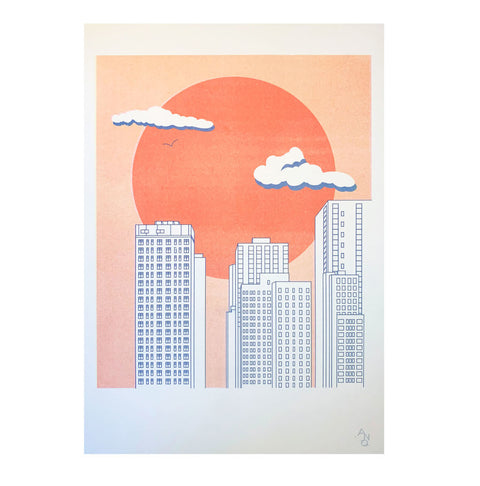 A3 Red Sun Risograph Print by ANO studio
