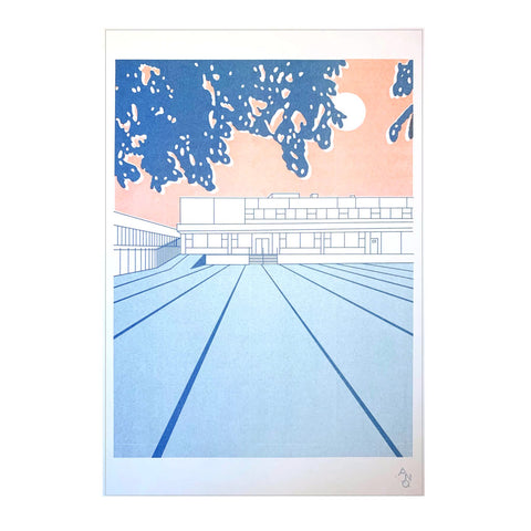 Strip Mall Risograph Print