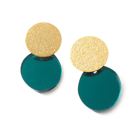 Ami Gold Stardust and Acrylic Earrings in Teal and Gold