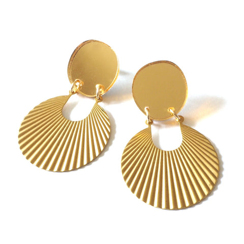 Anke Sunrise Earrings with Ribbed Gold Charms and Gold Acrylic Discs