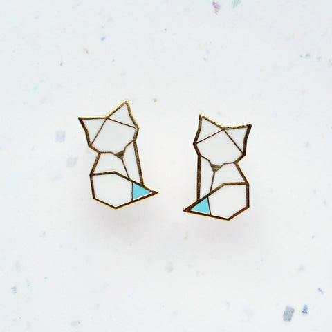 white origami inspired enamel arctic fox earrings by hug a porcupine