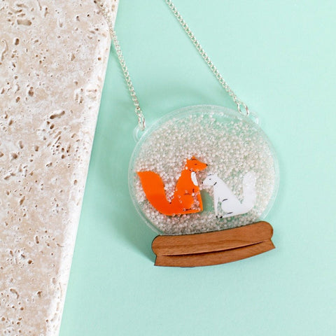 Fox Tales Snow Globe Necklace