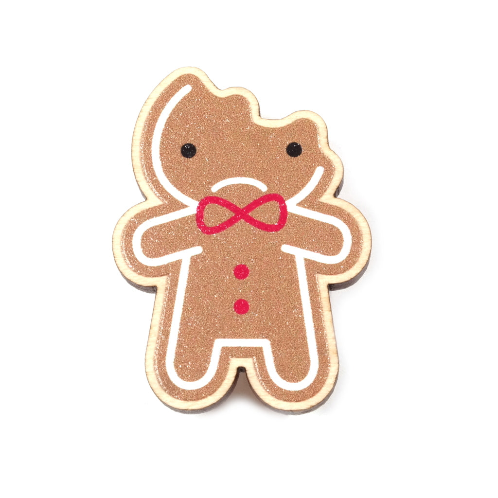 Cute Bitten Gingerbread Man Wooden Brooch