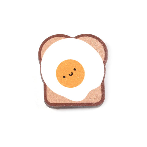 Fried Egg On Toast Cute Wooden Pin