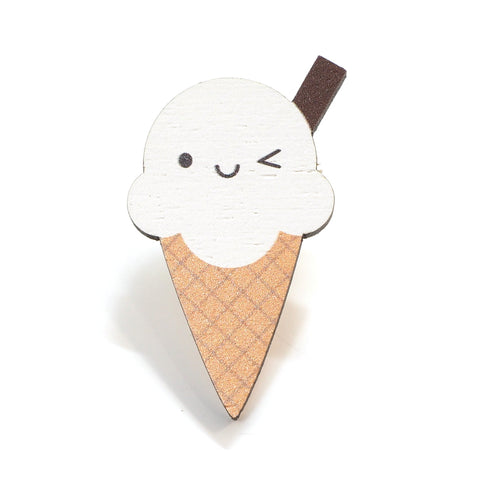 Wooden Ice Cream Pin Brooch with Smiley Face