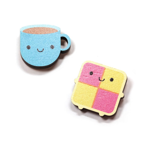 Tea and Battenburg Cake Wooden Pin Set