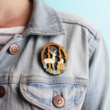 Moonlit Forest Brooch with Deer and Squirrel Modelled on Denim Jacket