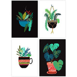 Pot Plant Postcard Set - Four Plant Illustrations