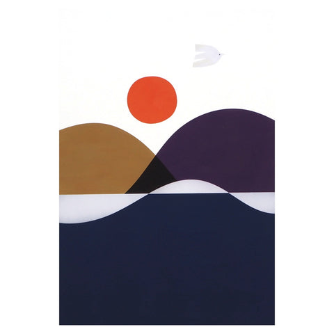 Summer Bird Print - Minimalist abstract landscape with blue hills and white bird