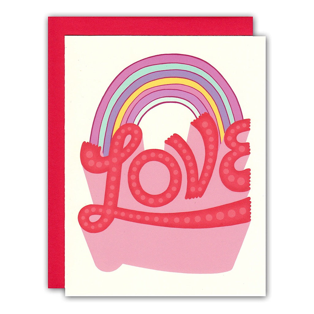 Retro Pastel Rainbow Love Typography Card