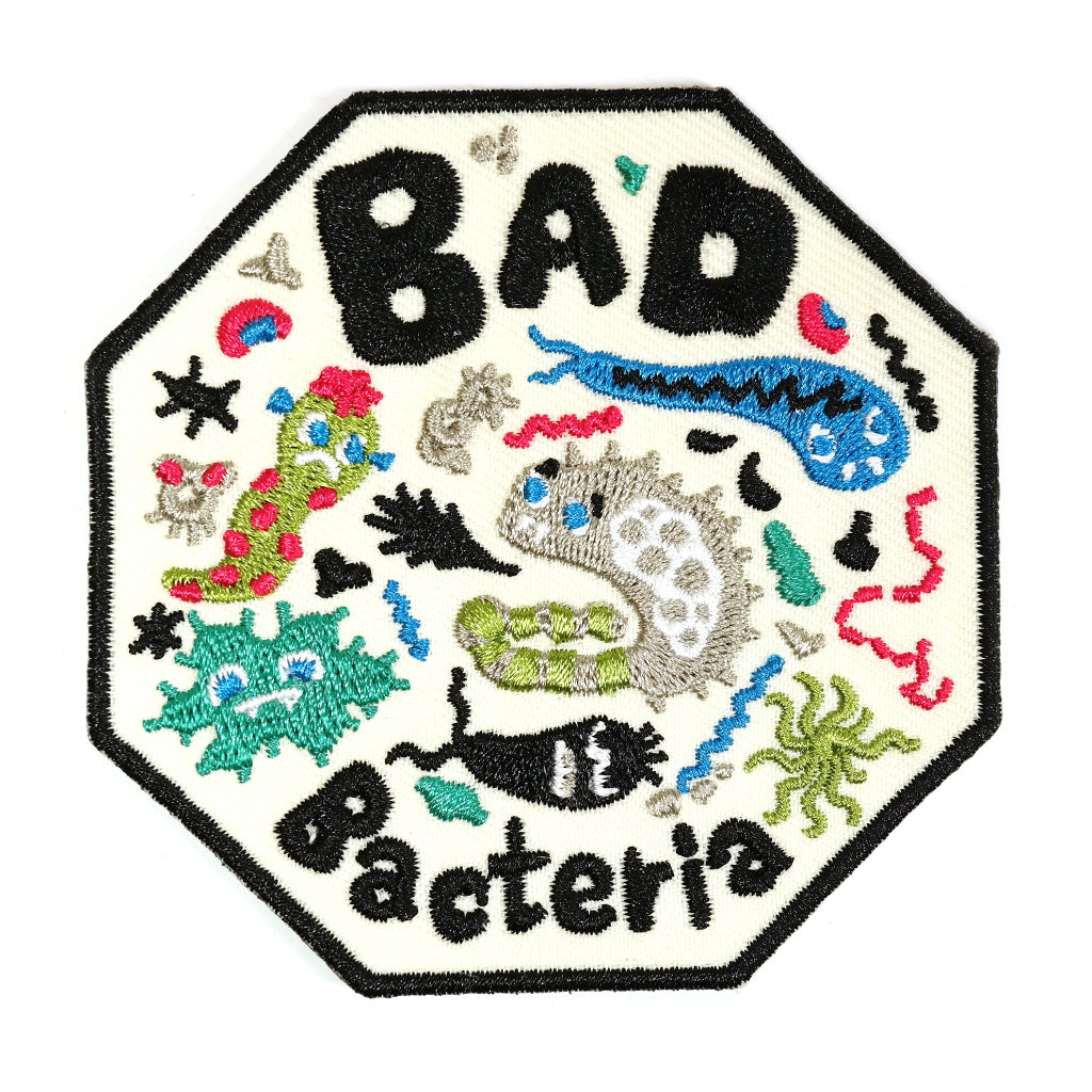 cute bad bacteria microscope iron on embroidered patch