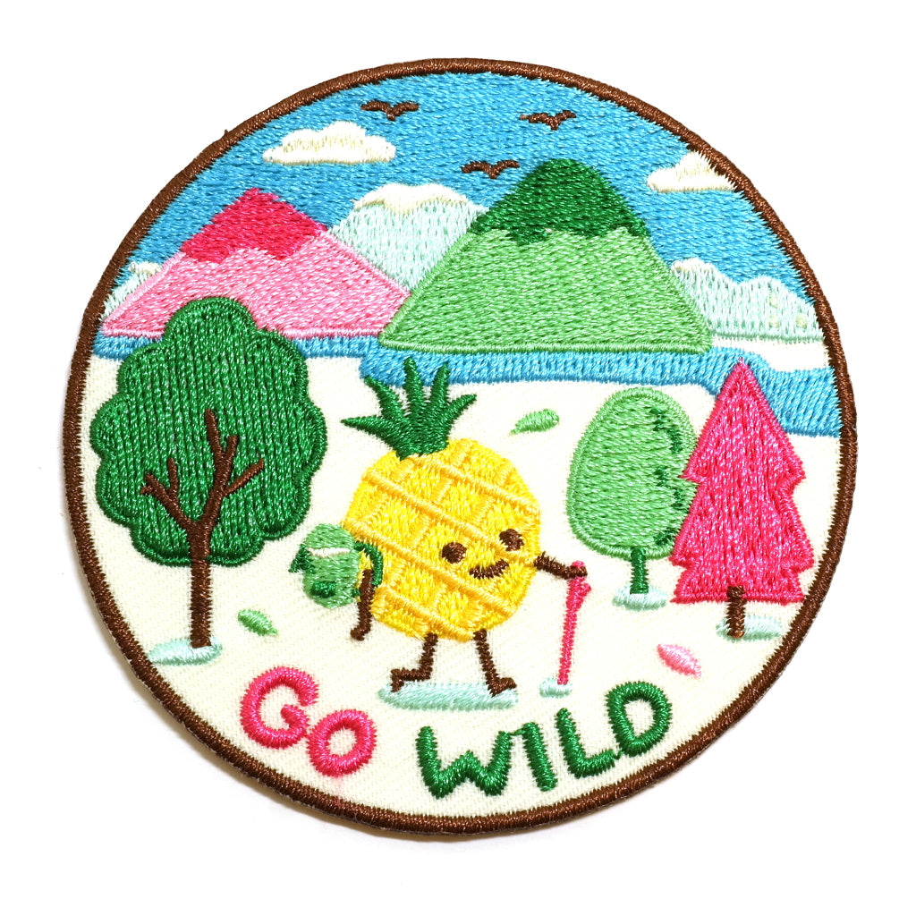Go Wild Pineapple Adventurer Iron On Embroidered Patch