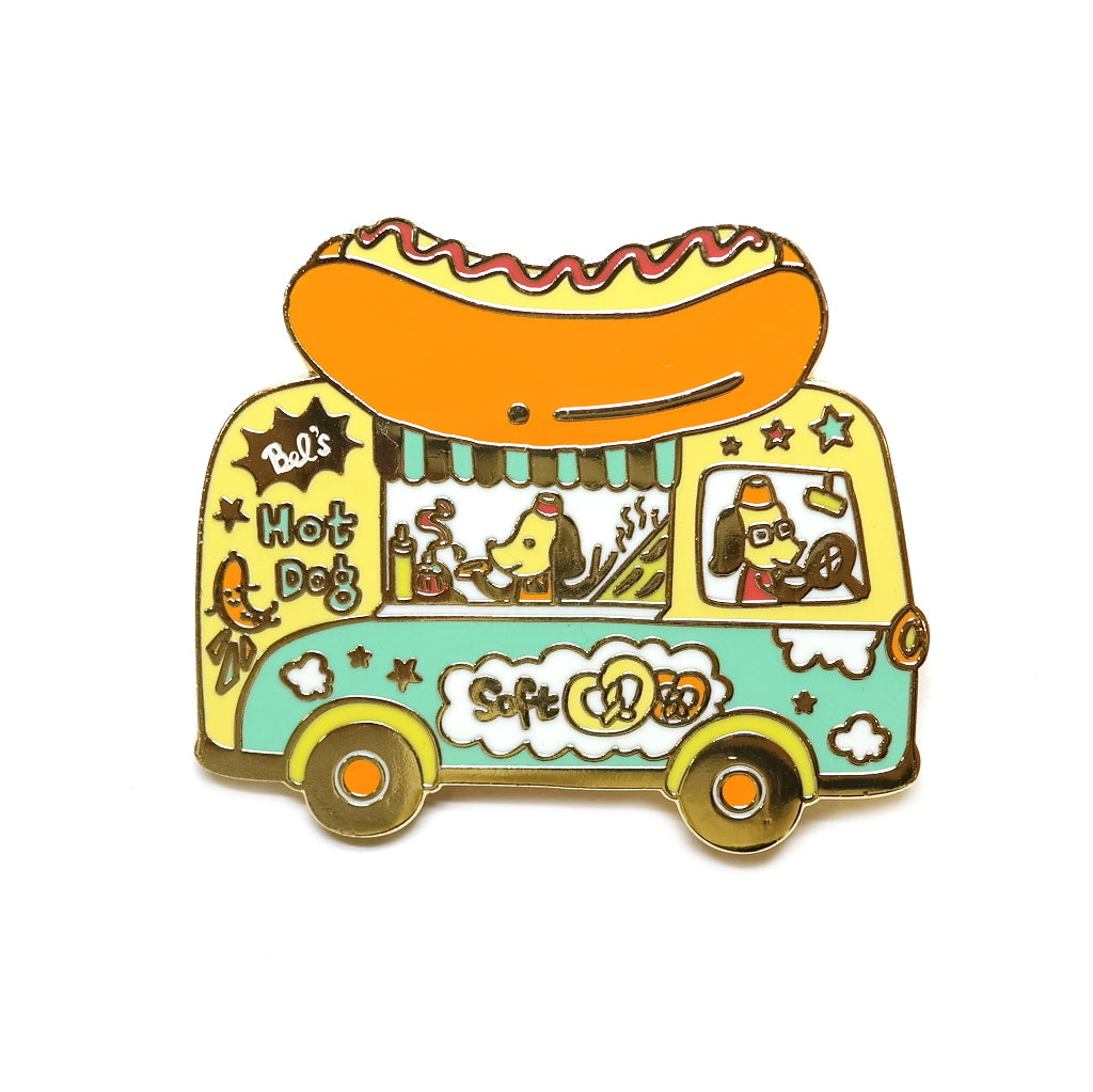 hot dog food truck dachshund enamel metal pin brooch