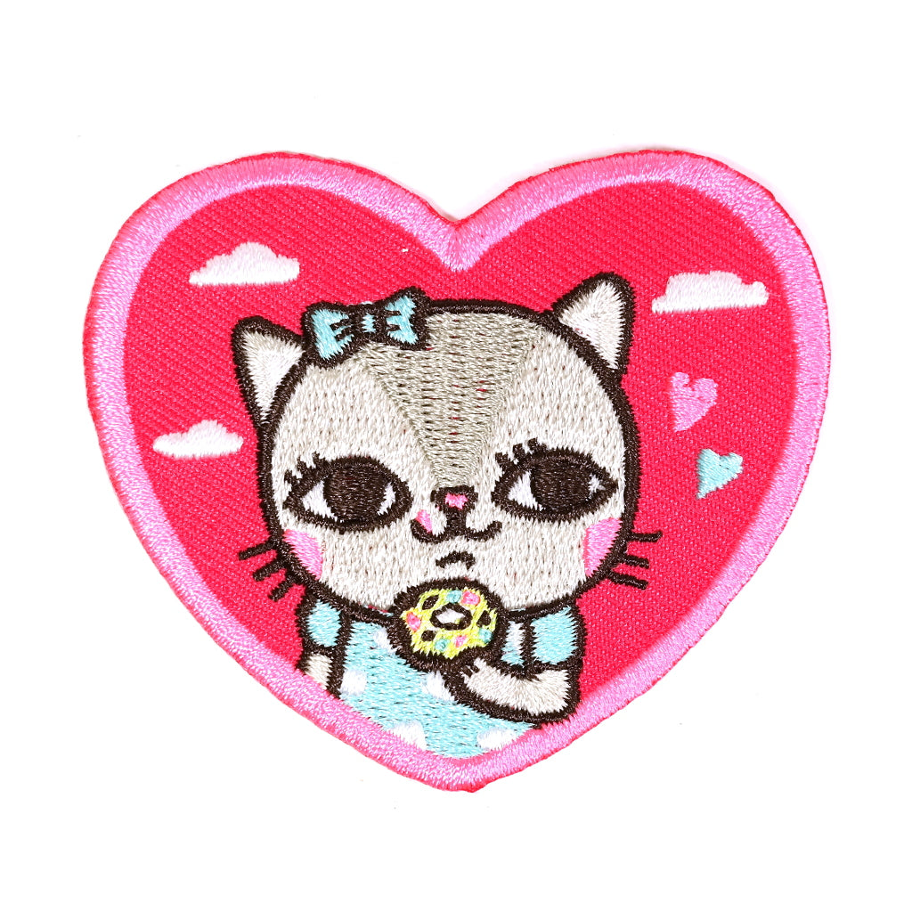 Kitty eating Donuts pink heard iron on embroidered patch