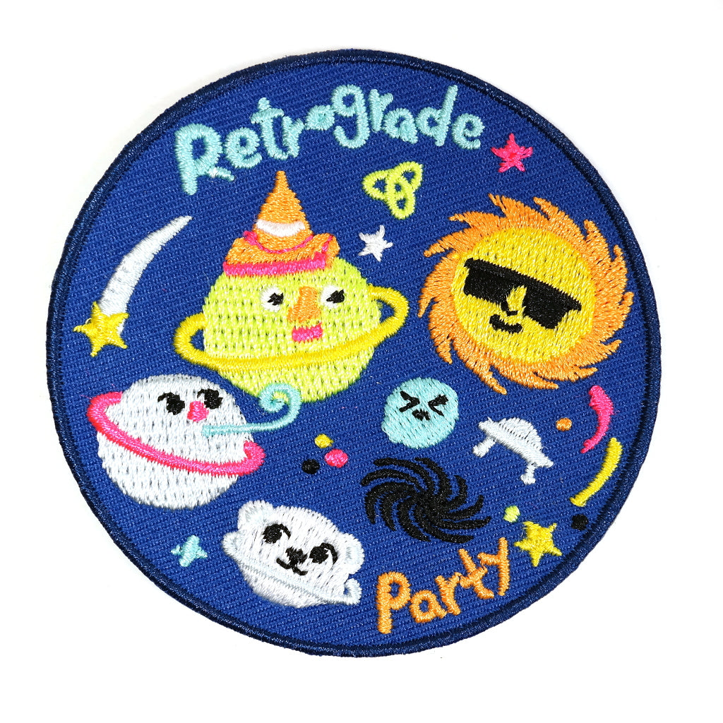 retrograde space planets party embroidered iron on patch