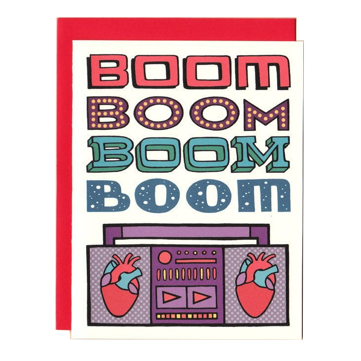 Boom Heart Boombox Greetings Card