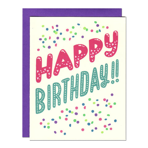 happy birthday confetti typography illustrated greetings card