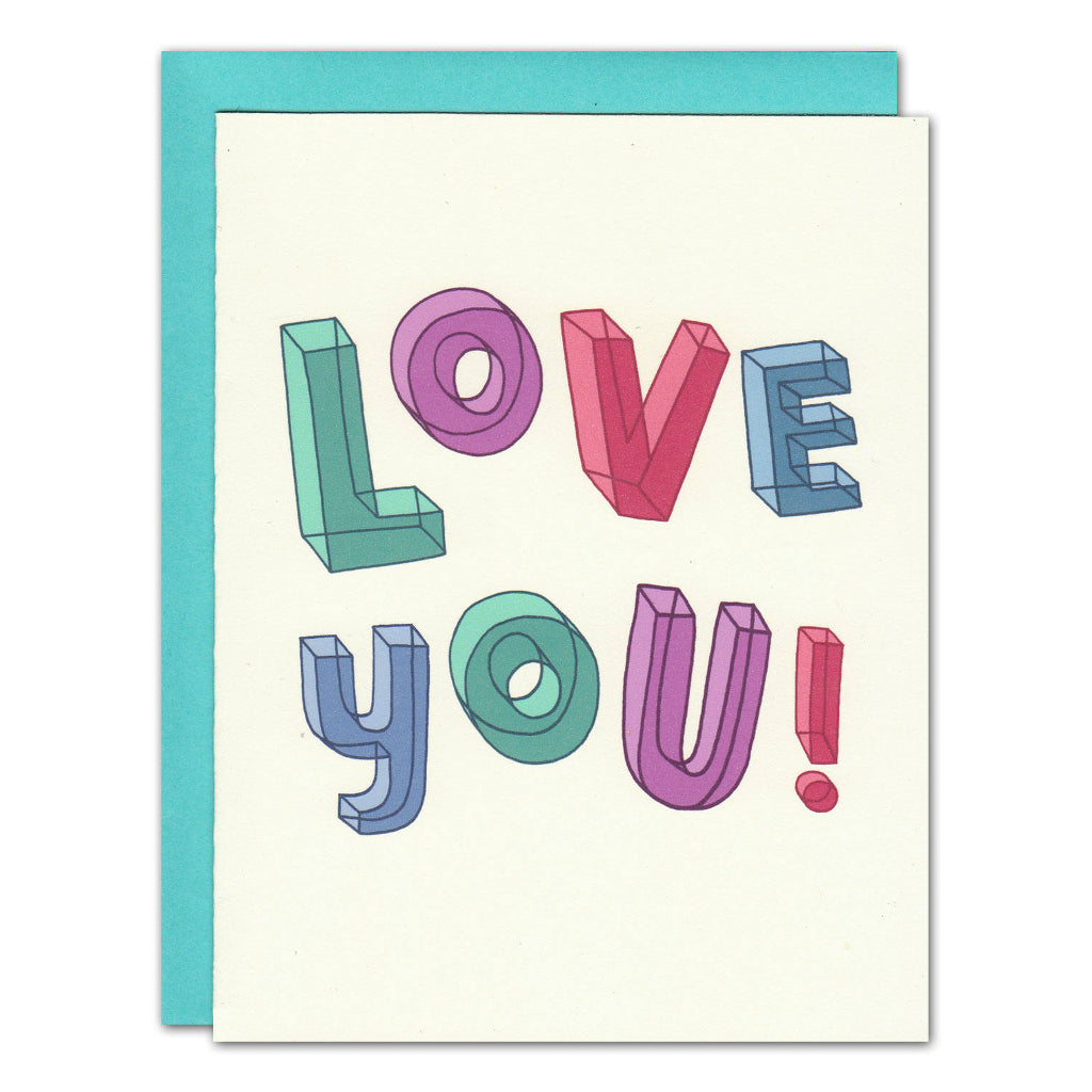 love you typography pastel coloured greetings card
