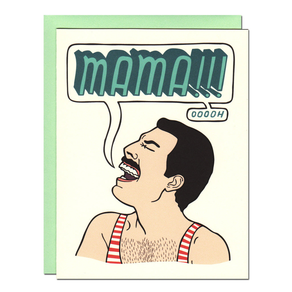 freddy mercury queen mama illustrated greetings card