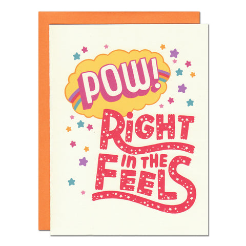 pow right in the feels typography greetings card