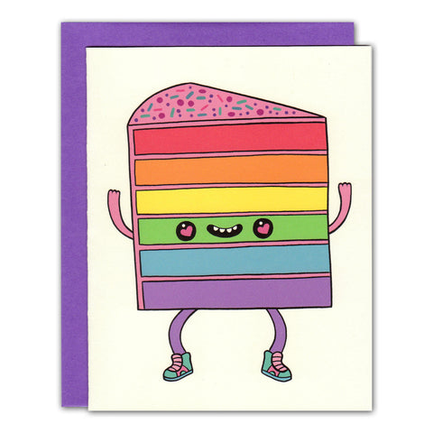 rainbow cake happy face greetings card