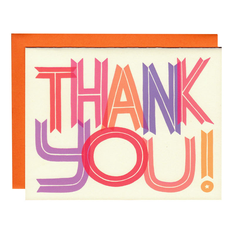 thank you typography illustrated greetings card