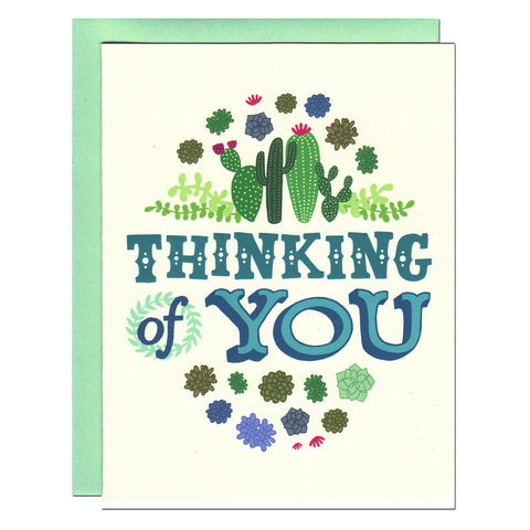 thinking of you illustrated succulents greetings card