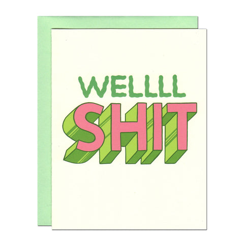 well shit typography greetings card