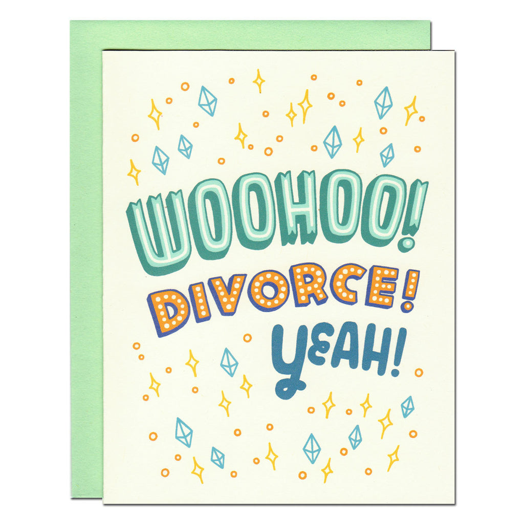 Woo Divorce Yeah typography illustrated greetings card