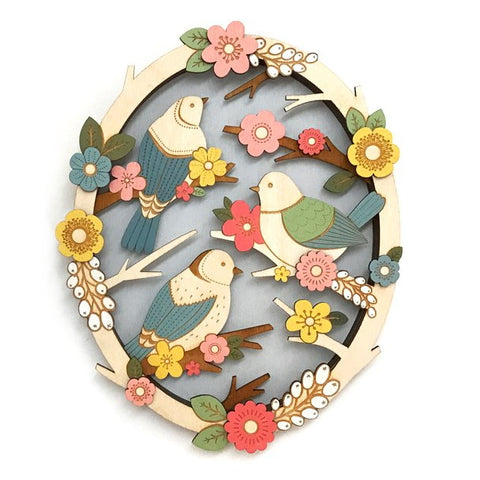 Birds in Springtime Floral Wooden Wall Art