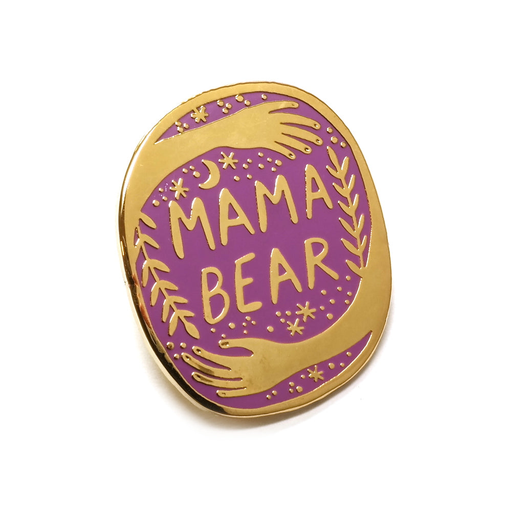 mama bear hug enamel pin in plum gold by bonbi forest