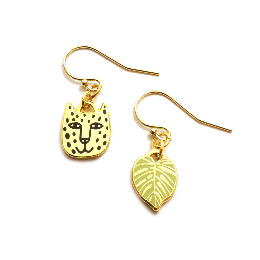 Rain Forest Jaguar and Monstera Leaf Charm Earrings in Gold and Green