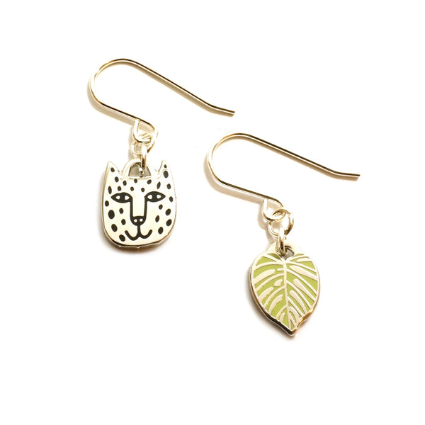 Rain Forest Jaguar and Monstera Leaf Charm Earrings in Silver and Green