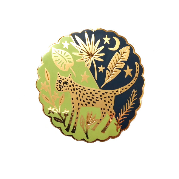 Leopard in the Rainforest Enamel Metal Pin Badge in Green