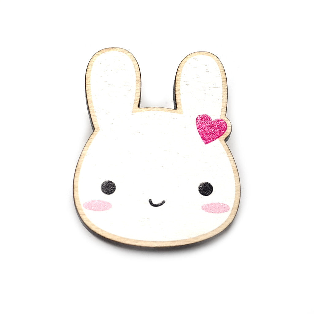 cute wooden white rabbit bunny brooch with heart