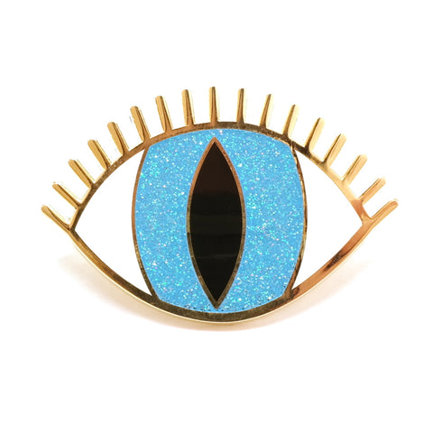 Blue Enamel Magic Eye Pin Brooch
