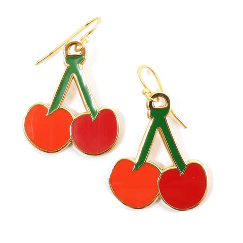 Enamel Fruity Red Cherry Earrings