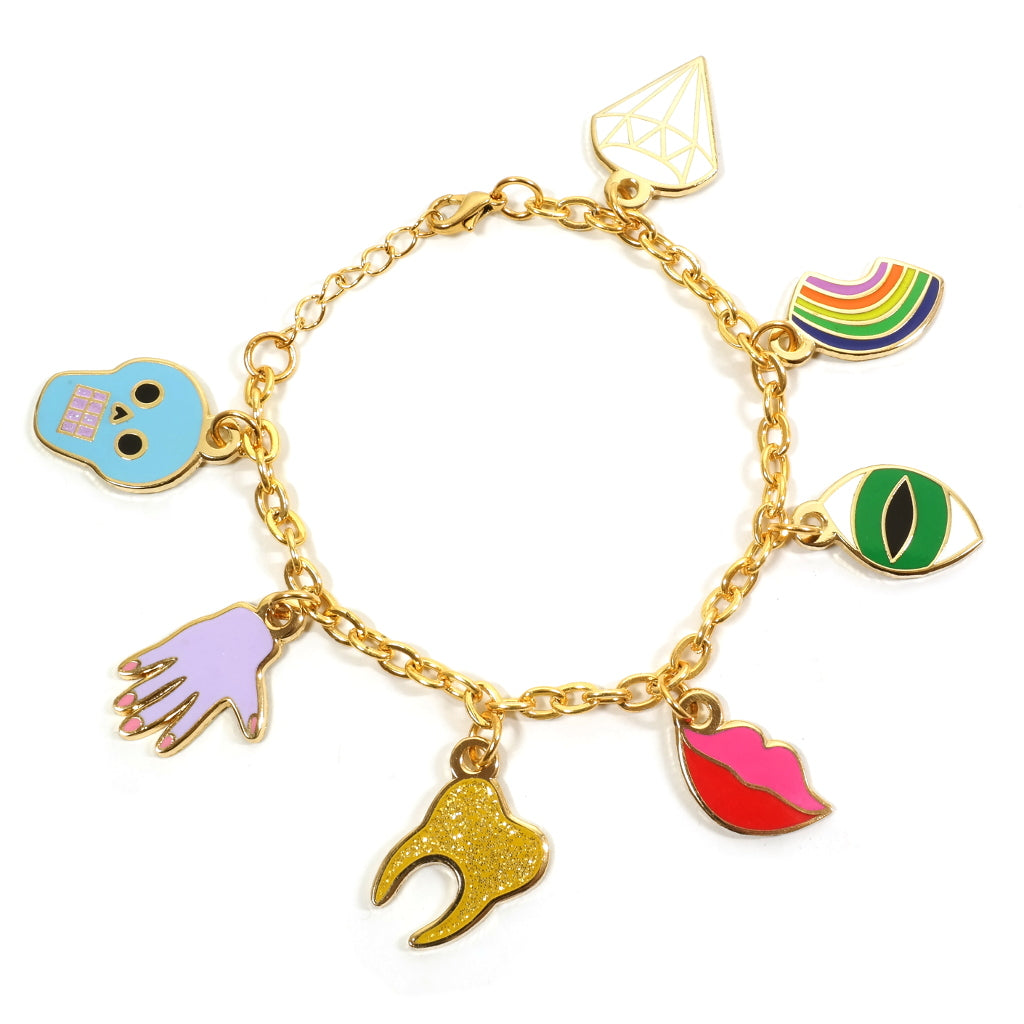 Classic Enamel Charm Bracelet with Skull Hand Lips Eye Rainbow Diamond Enamel Charms
