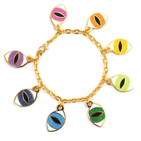 Blue Pink Yellow Green Purple Eye Enamel Charm Bracelet