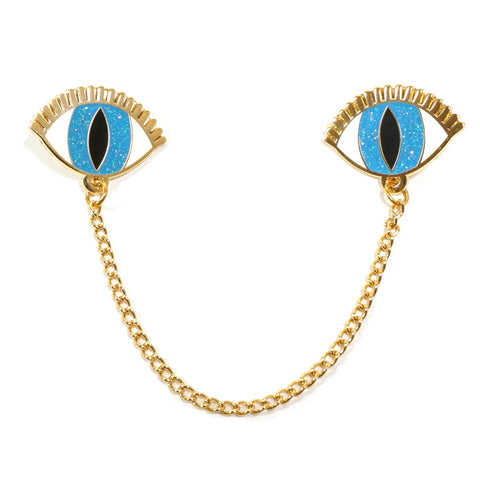 Blue eyes collar pin