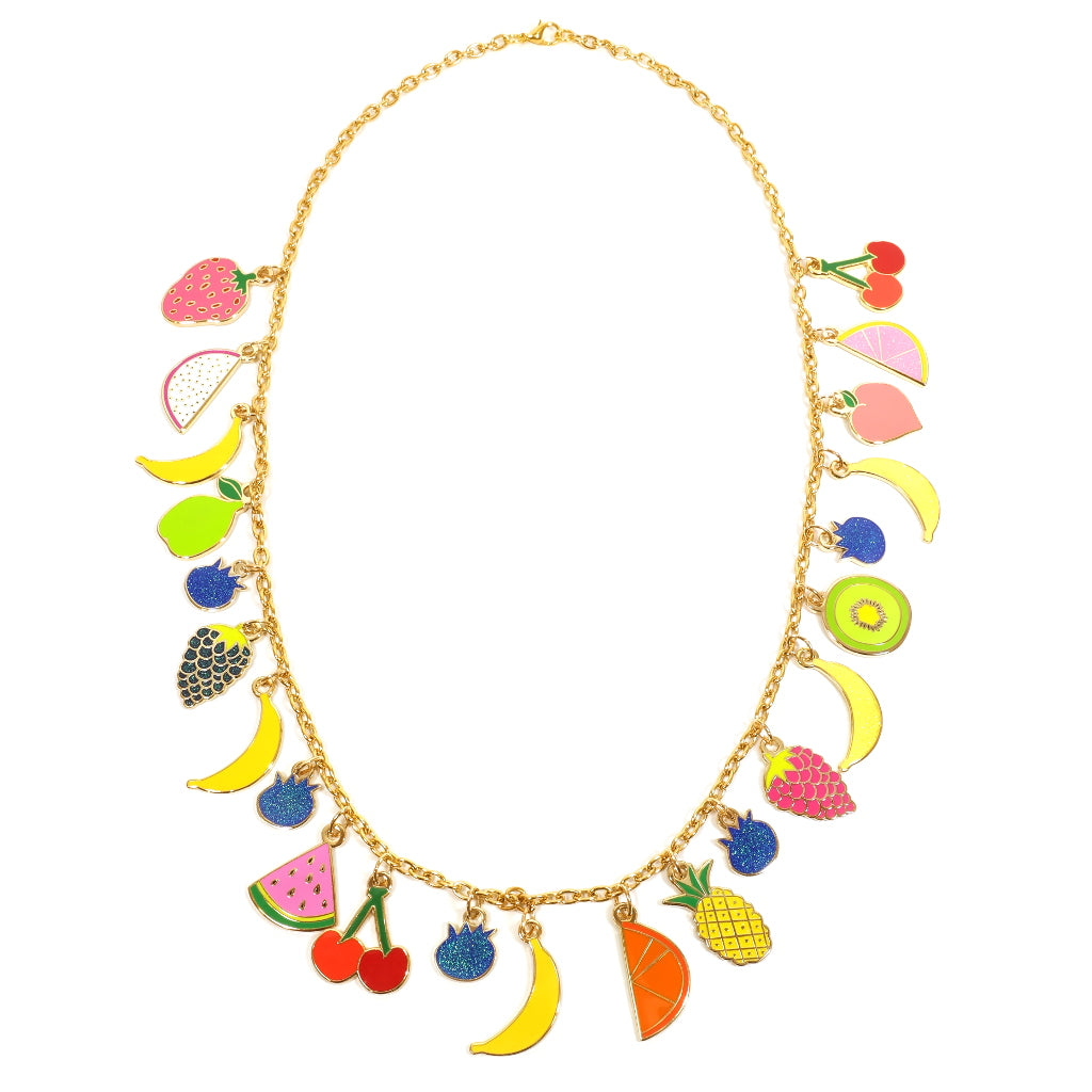 Enamel Fruit Charm Necklace with Bananas Cherry Pear Strawberry
