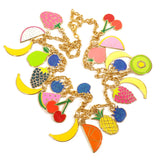 Enamel Fruit Charm Necklace with Bananas Cherry Pear Strawberry Close Up
