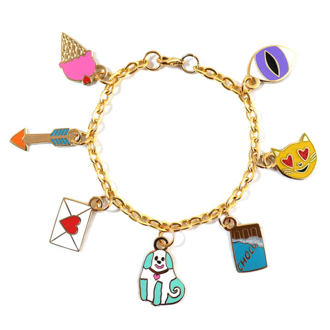 Love Enamel Charm Bracelet with Ice Cream Love Letter Cat Eye Arrow