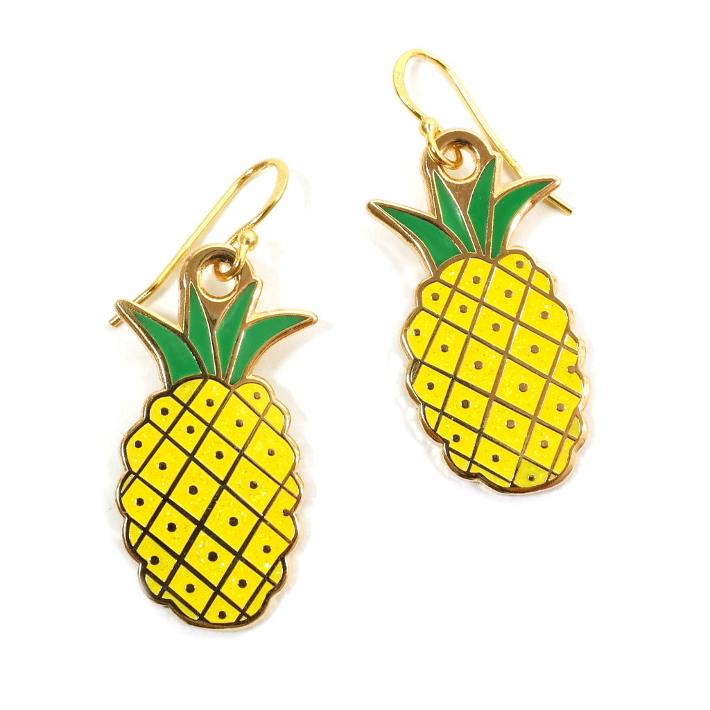 tropical pineapple enamel earrings